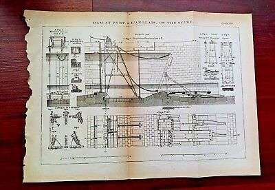 1873 Engineering Diagram of Dam at Port a L'Anglais on the Seine