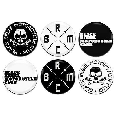 6x black rebel motorcycle club band 25mm 1 inch d pin button badges
