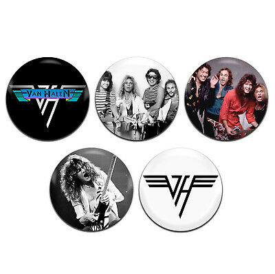 5x Van Halen Heavy Metal Rock Band 70s / 80s 25mm / 1 Inch D Pin Button Badges