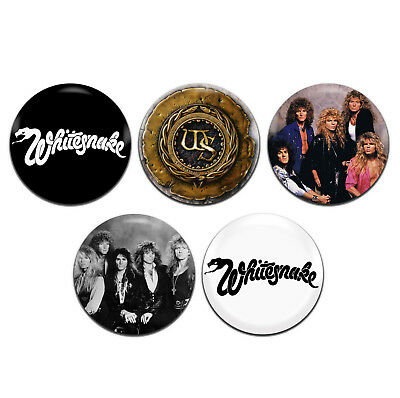 5x Whitesnake Heavy Metal Rock Band 25mm / 1 Inch D Pin Button Badges