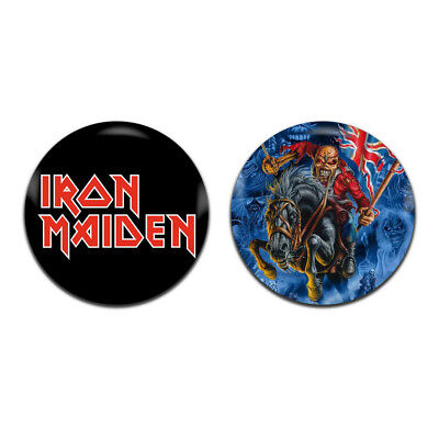2x Iron Maiden Band Rock Heavy Metal 25mm / 1 Inch D Pin Button Badges