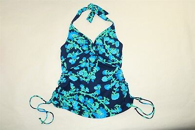 10902f1a27c46 LANDS' END Women's Ruched Side Tie Halter Tankini Swim Top - BLUE/GREEN -
