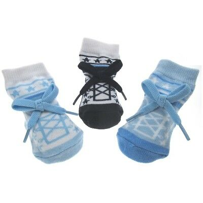 New Baby Socks Boys with Bow Shoe Style 0-6M Shower Gift Box Soft Touch Sky Navy