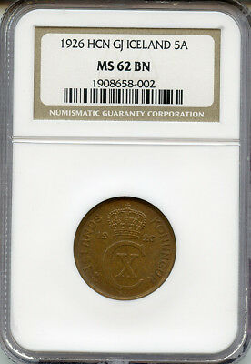 Iceland 1926-Hcn-Gj 5 Aurar, Rare In Choice Unc,ngc-Ms-62-Unc Coin.