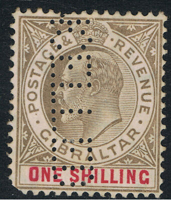 Gilbraltar 1904 - 12 1/- Bister & Carmine King Edward Vii - Perforated