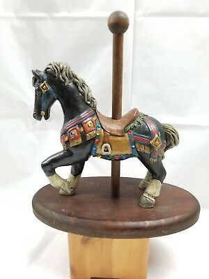 Vintage Resin & Hand Painted Carousel Horse on Wooden Stand - Marked JP 1987