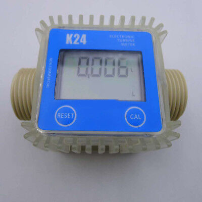 LC_ Pro K24 Turbine Digital Diesel Fuel Flow Meter For Chemicals Water Blue Su