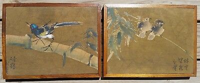 2 Japanese Paintings On Silk, Birds On Bamboo, Signed, Mounted & Framed, Vintage