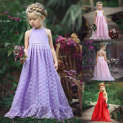 Lace Boho Rustic Flower Girl Dress Backless Long Beach Sundress for Wedding Gown