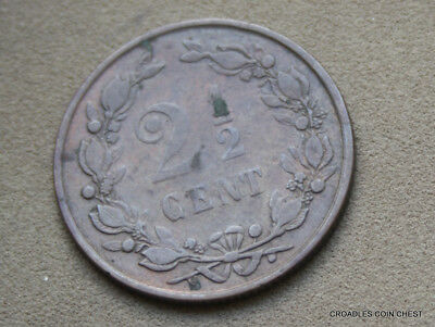1883  2 1/2 Cent  Netherlands Circulated Low Mint 400,000  World Coin #bvo6