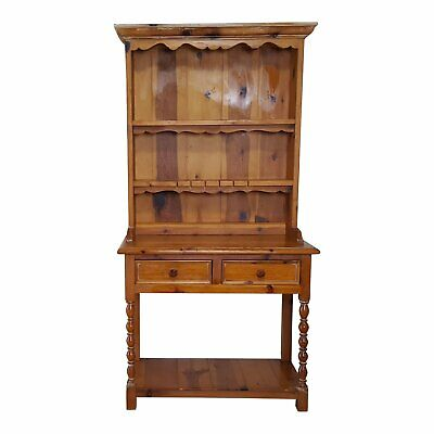 2 pieces Rustic Style Pine China Hutch sideboard with spindles