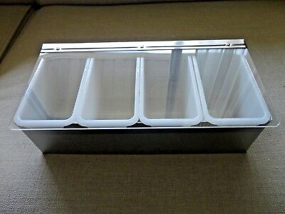 Winco Stainless Steel Condiment Holder Four 1 Pint White Inserts