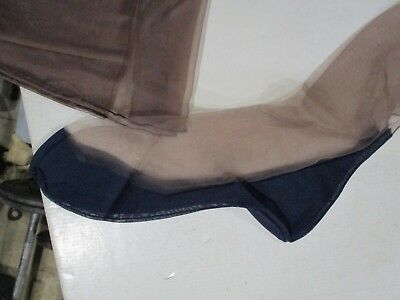 1Pr Vintage Bryans 15D Seamed Full Fashion Nylon Stockings Size 9 1/2 Blue Foot
