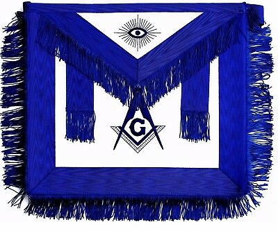 Blue Master Mason Apron With Fringe Hand Embroidered Dma-100