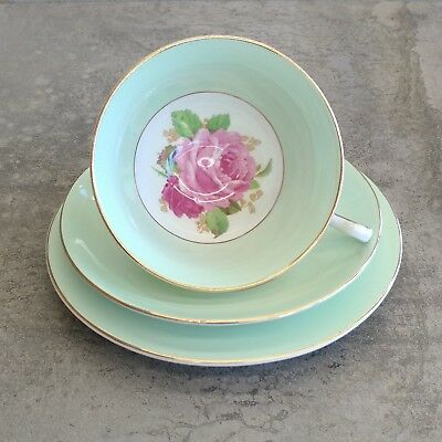 Vintage Rosina Fine China Teacup Saucer Plate Trio England - plate has haircrack