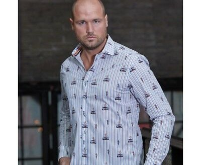 Chemise GULF GT 40 Pin up blanche pour homme