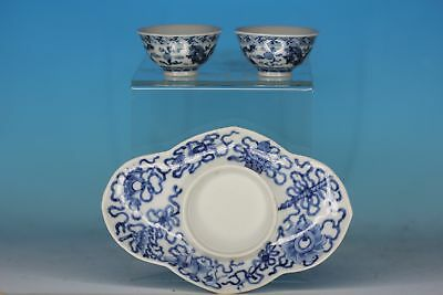 Chinese Antique Set Of Two Blue And White Cups And A Saucer Dish
