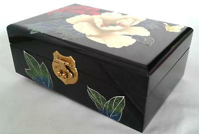 Chinese Lacquer Antique Jewelry Box 100% Wood Flower Vintage Handcrafted