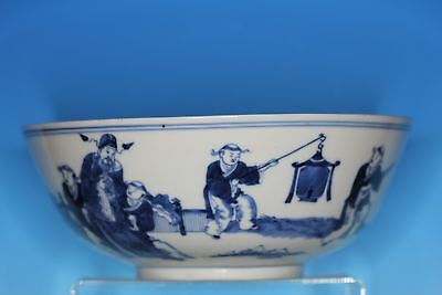 Large Chinese Blue And White Porcelain Antique Punch Bowl