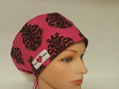 Hot Pink W / Black Damask / Bouffant  Scrub Surgical  /  Ponytail  Caps