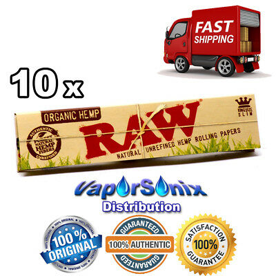 10 Pack Raw Classic King Size Slim Natural Unrefined Organic Hemp Rolling Papers