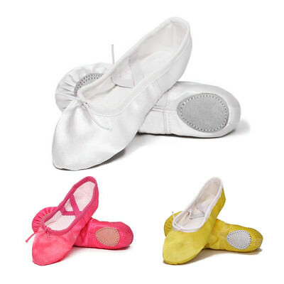 Kids Girls Satin Ballet Dance Shoes Split-Sole Practice Gymnastics Ballet Flats