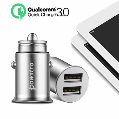POWSTRO Dual USB Car Charger Cigarette Lighter Fast Charge 3.0 for iPhone 7 Plus