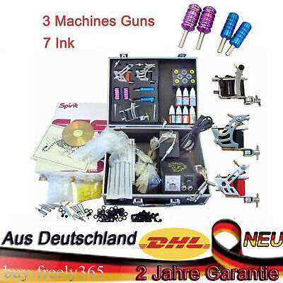 Tätowierung Tattoo Kit Komplett Tattoo Set 7 Inks 3Tattoo maschine Netzgerät Kit