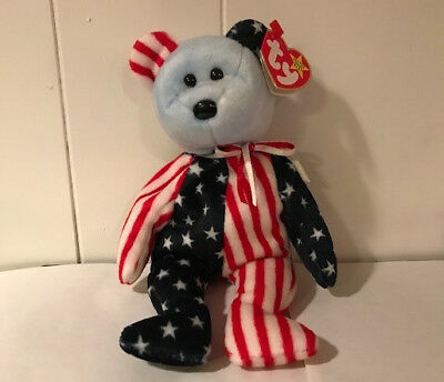 030b8b94602 Ty 1999 SPANGLE BEANIE BABIES Blue Face Bear with Error on Tag RARE  AUTHENTIC