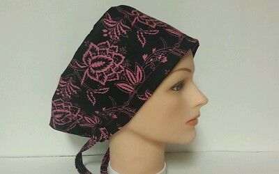 Illusion Of  Pink On Black  / Hat Pixie / Scrub Surgical / Medical Chemo / Cap