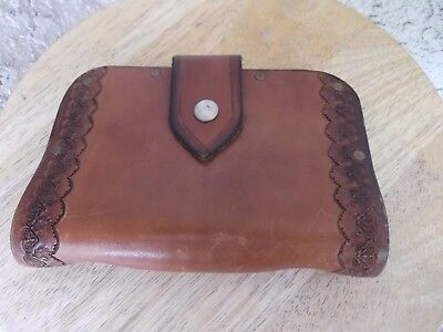 Antique/vintage Brown Tooled Leather Travel Note Book By Jeff Knight