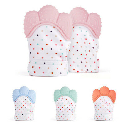 Silicone Baby Mitt Teething Mitten Teething Glove Candy Wrapper Sound Teether E2