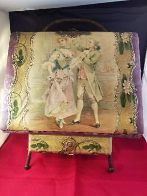 Beautiful Antique Vintage Victorian Photo Album with Stand Drawer & 7 Photos