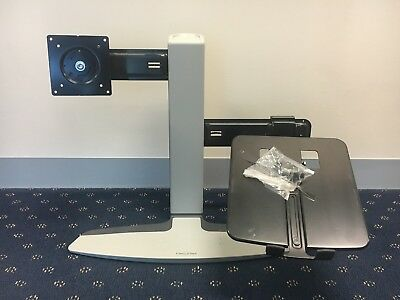 Used Ergotron Neo Flex Dual Arm Desk Mount Monitor/Notebook Combination Stand