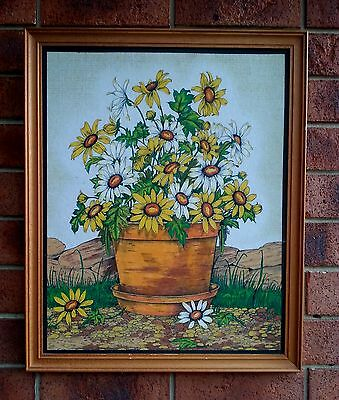 Vintage Retro Wall Art Daisies In Pot Daisy Hobbytex 1979 Wood Frame Felt