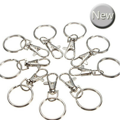 200 Pcs Silver Tone Lobster Trigger Swivel Clasps for Keyring Hook key UK