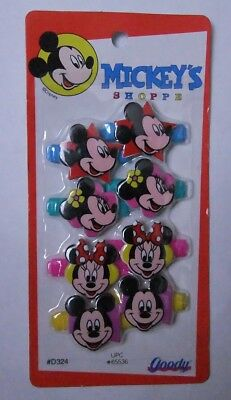 NEW Vintage Goody Snap Tight Hair Barrettes Clips Disney Mickey Minnie Mouse