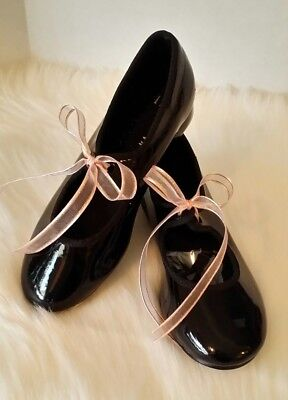 Black Patent Leather Spotlights American Ballet Theatre Tap Shoes, Girls Size 11