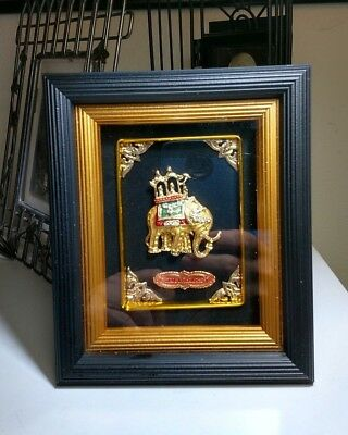 Shadow Box Crystal Jeweled Enameled Golden Elephant Made in Thailand