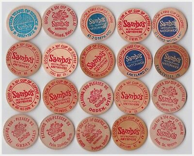 20 different Sambo's wooden coffee chips