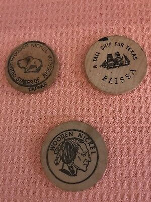 Antique Wooden Nickels - Lot of 3 - Vintage Condition