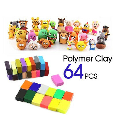64PCS Craft Oven Bake Polymer Clay Modelling Art Sculpey Fimo Block DIY Toy AU