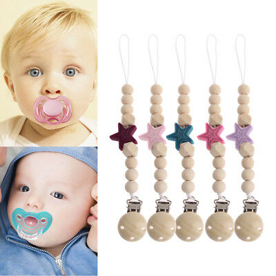 Baby Pacifier Clips Silicone Star Bead Pacifier Chain Dummy Clips Shower Gifts