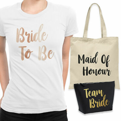 Team Bride To Be Bridesmaid Hen Do Night Party T-Shirt Make Up Tote Bag Gift Set