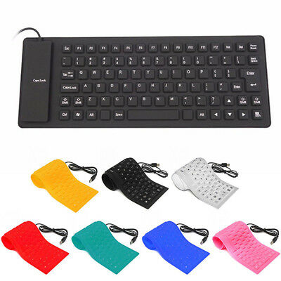 1Pc Portable English Letter 85 Key Silicone Waterproof Foldable Wired Keyboard