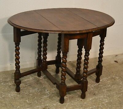 Antique Oak Drop Leaf Gate Leg Table With Barley Twist Legs - 3374