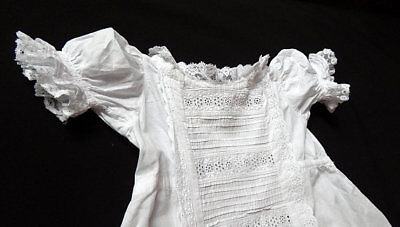 Very Long Christening Gown English with Tucks and Broderie Anglaise