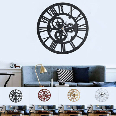Roman Wall Clock Traditional Vintage Metal Roman Numeral Skeleton 30.5Cm Uk New