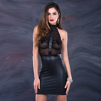 PATRICE CATANZARO Jane Dress Transparentes Oberteil Wetlook Kleid Mesh See-thru