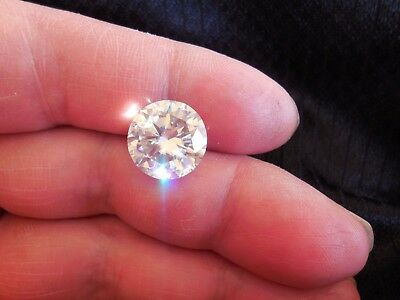 Fiery 7.22 ct White I - J Color Round Loose Moissanite VVS1 13.03 mm